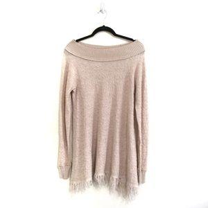 Free People Knit Off Shoulder Boho Fringe Dress